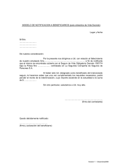 Modelo notificación beneficiarios