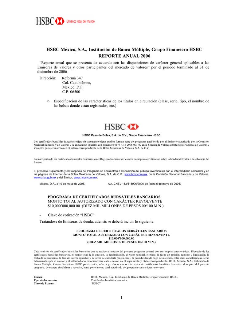 HSBC México, S.A., Institución de Banca Múltiple, Grupo Financiero