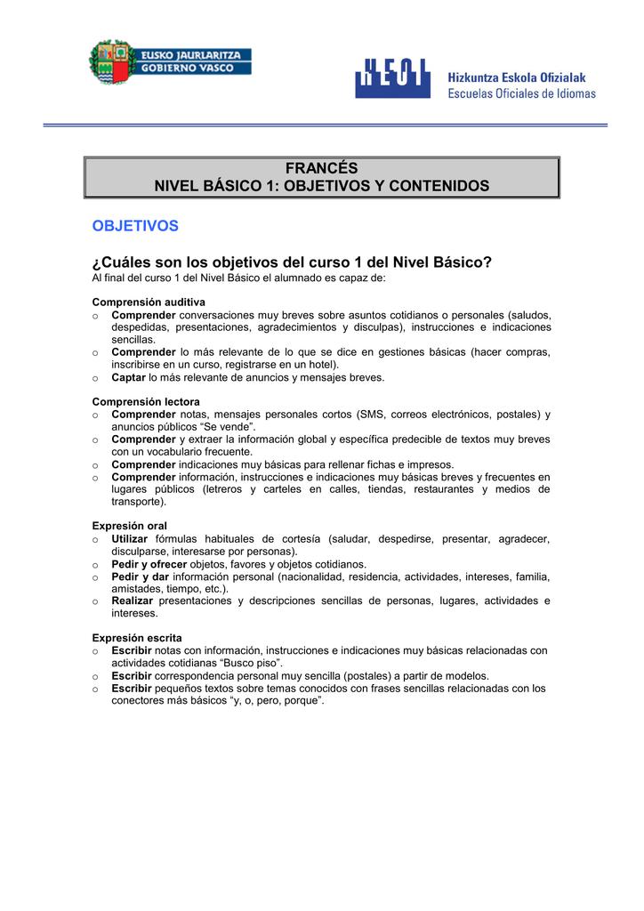Francés Nivel Básico 1 Objetivos Y Contenidos