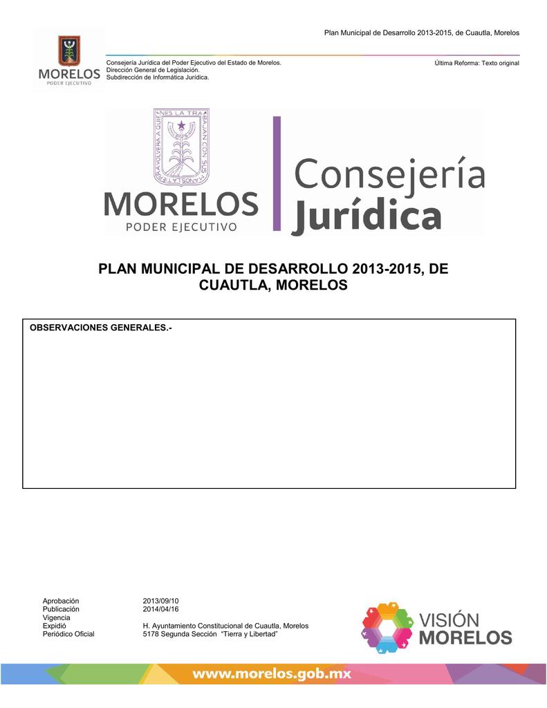Plan Municipal De Desarrollo 2013 2015 De Cuautla