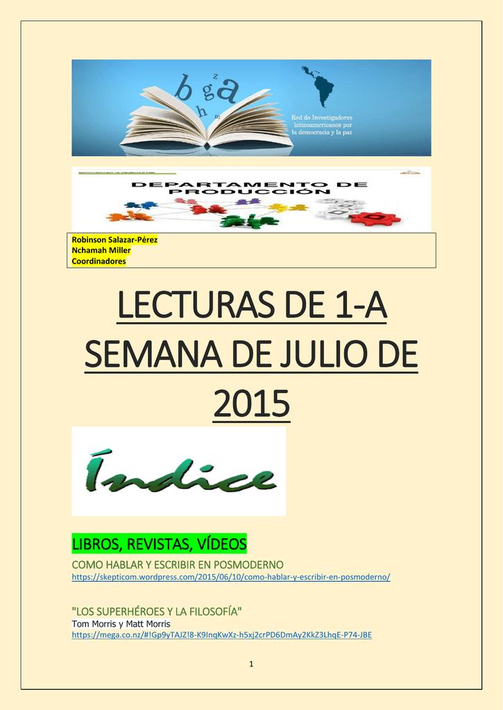 Lecturas de la Primera Semana de Julio 2015