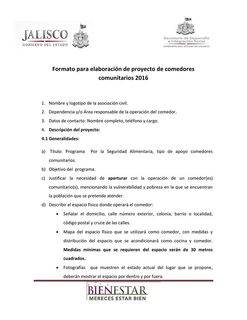 Formato para elaboración de proyecto de comedores comunitarios