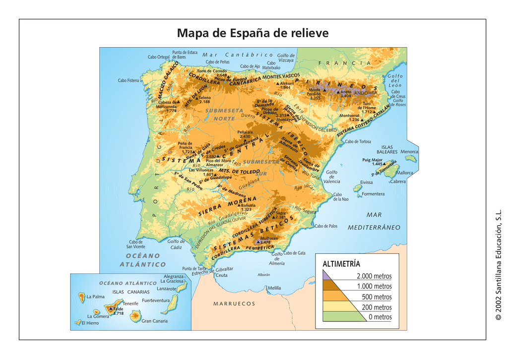 Cabo Ortegal Mapa Fisico.Mapas Del Relieve De Espana