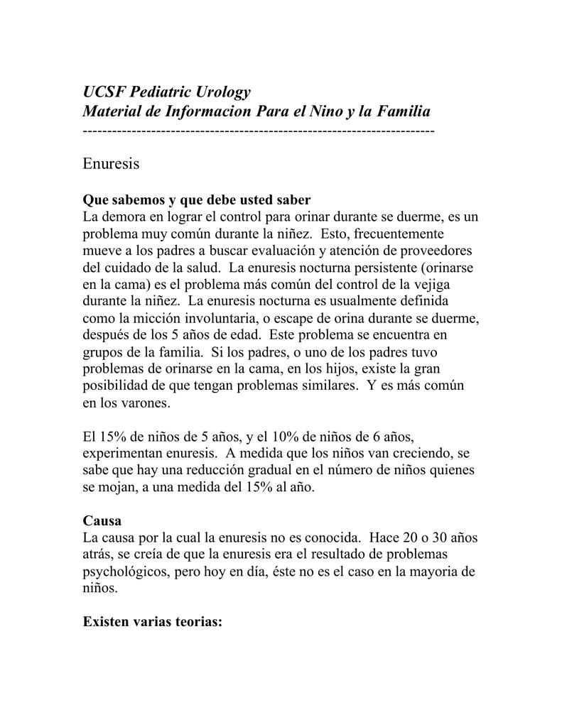 UCSF Pediatric Urology Material de Informacion Para el Nino y la