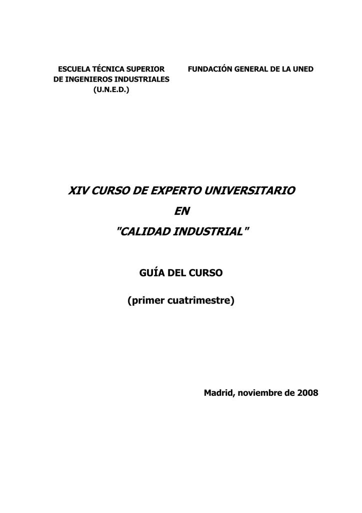 Xiv Curso De Experto Universitario En Calidad Industrial