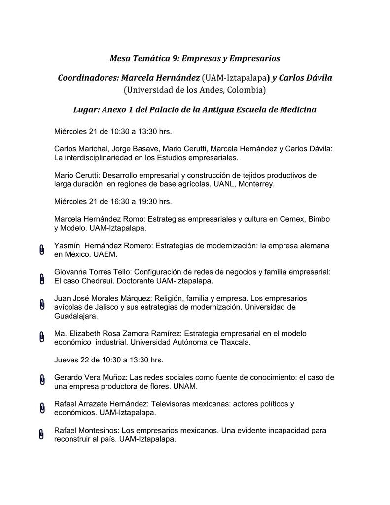 Mesa Temática 9: Empresas y Empresarios Coordinadores: Marcela
