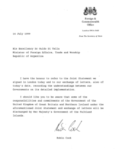 14 July 1999 His Excellency Dr Guido Di Tella Minister of Foreign