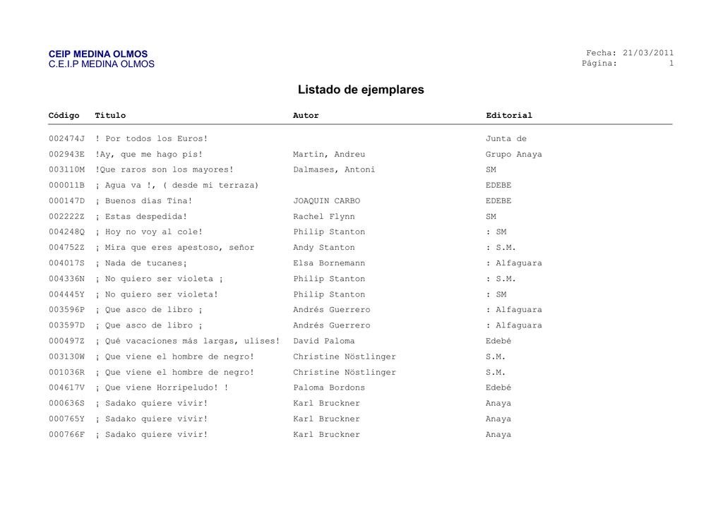 Listado de ejemplares