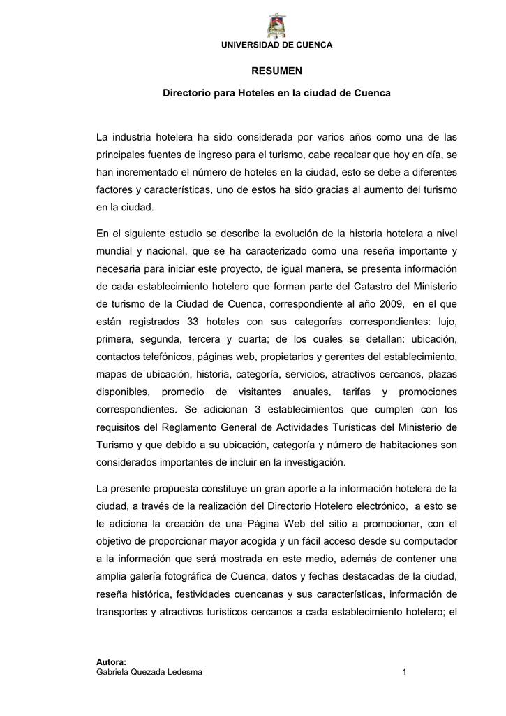 RESUMEN Directorio para Hoteles en la ciudad de Cuenca La