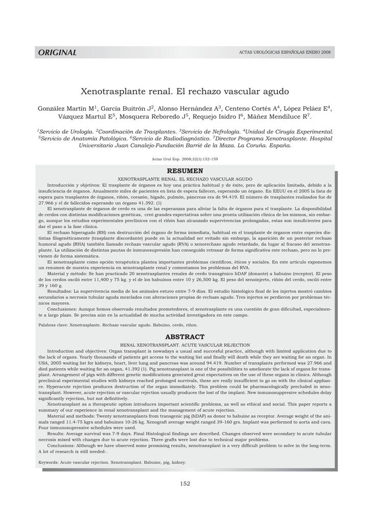 Xenotrasplante renal. El rechazo vascular agudo