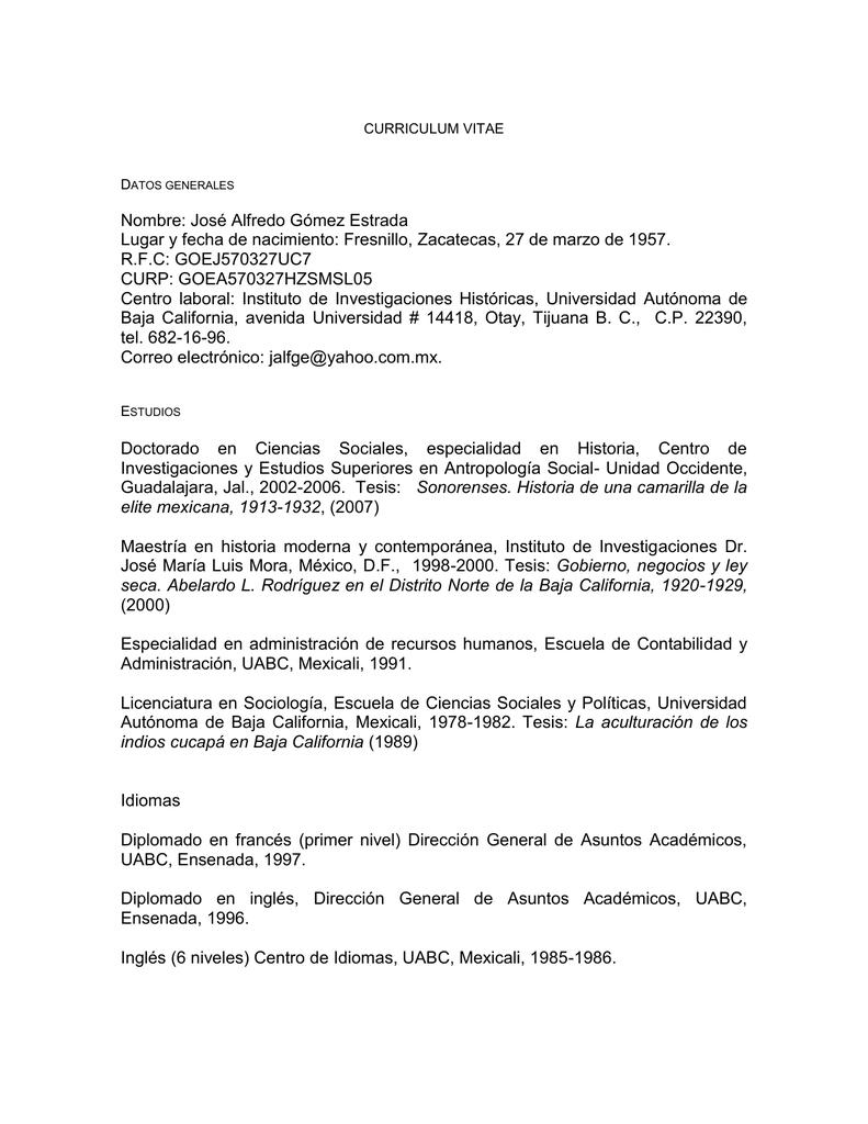 CURRICULUM VITAE - Instituto de Investigaciones Históricas