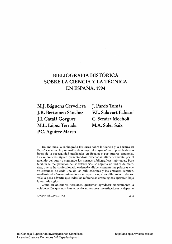 Bibliografía Histórica sobre la Ciencia y la Técnica Asclepio