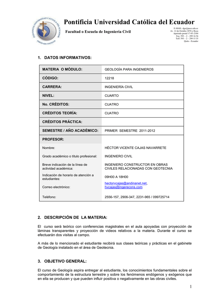 Geologia Pontificia Universidad Católica Del Ecuador