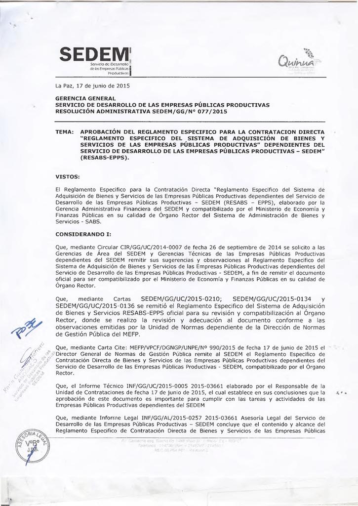 Reglamento especifico del sistema de adquisicion de bienes y
