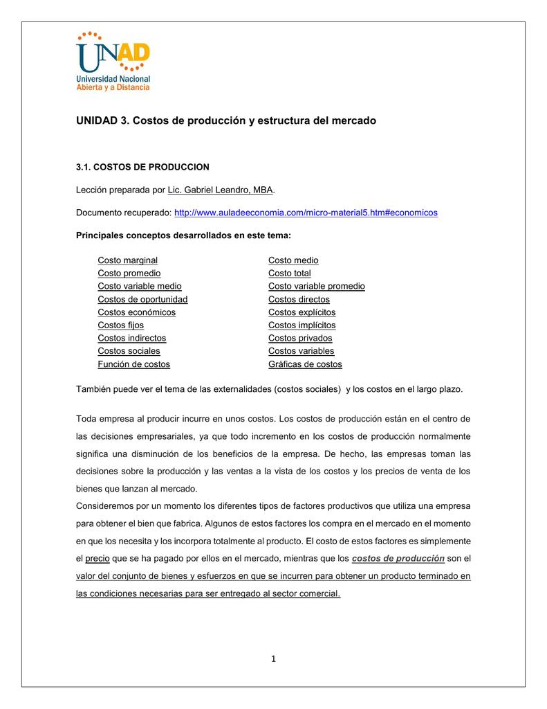Unidad 3 Costos De Producción Y Estructura Del Mercado