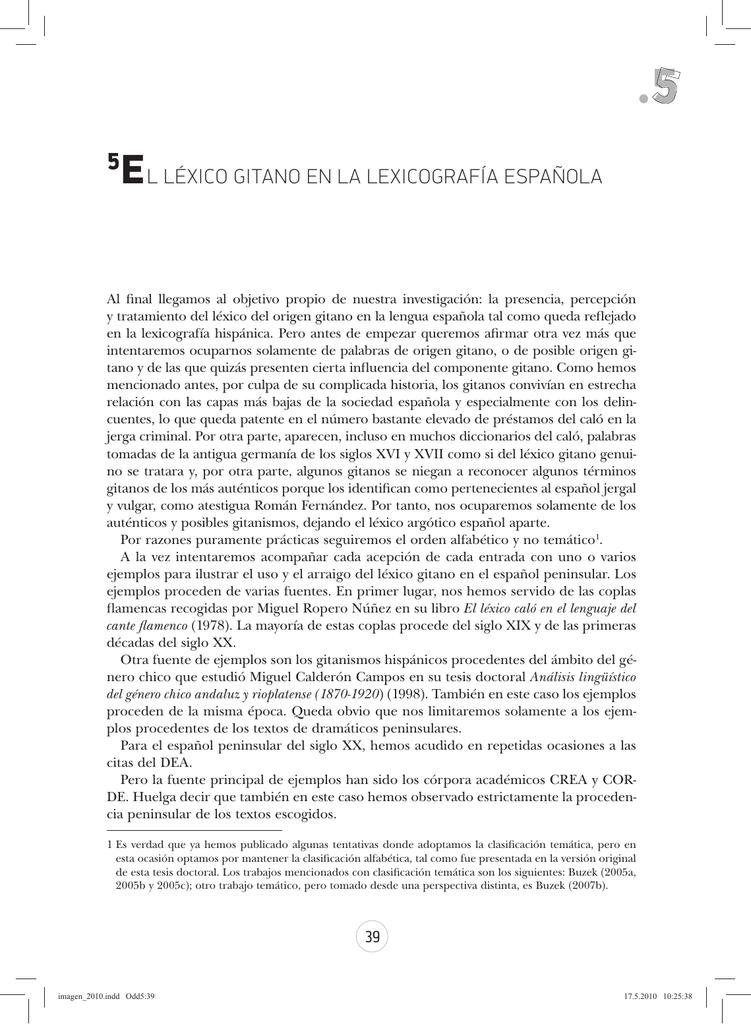 5el Léxico Gitano En La Lexicografía Española