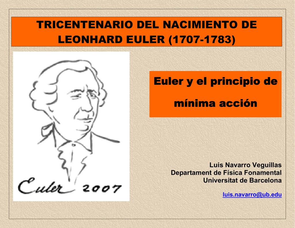 Euler Y El Principio De Minima Accion