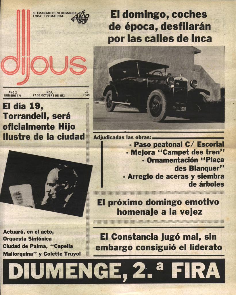1g e El domingo, coches de época, desfilarffii por las calles de Inca