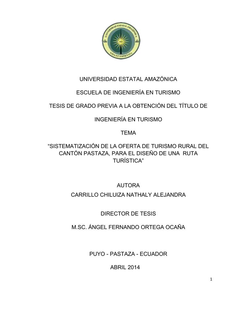 universidad estatal amazónica escuela de ingeniería en turismo