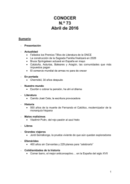 CONOCER N.º 73 Abril de 2016