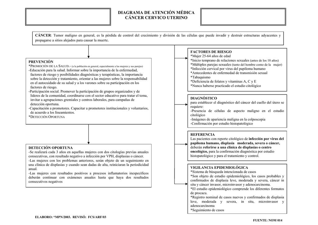 cancer cervico uterino. diagrama de atencion medica