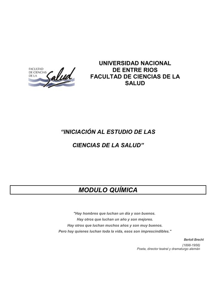 Modulo Química Facultad De Ciencias De La Salud