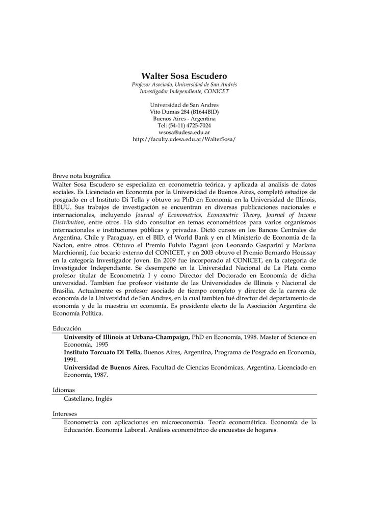 Currículum vítae - Universidad de San Andrés
