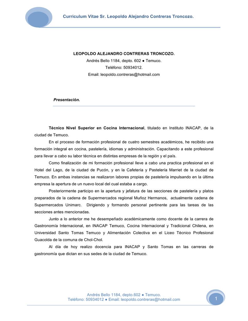 Curriculum Vitae Sr. Leopoldo Alejandro Contreras Troncozo.