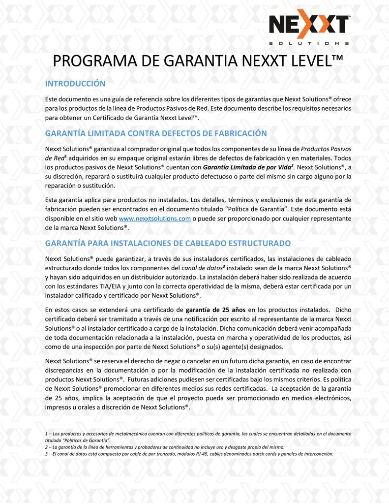 PROGRAMA DE GARANTIA NEXXT LEVEL™ 7e60513a0c