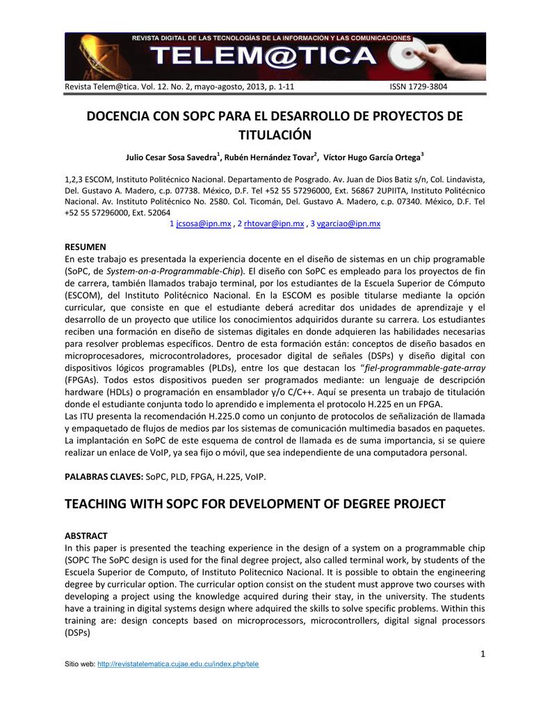 docencia con sopc para el desarrollo de proyectos de titulación