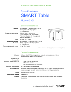 SMART Table 230i Specifications
