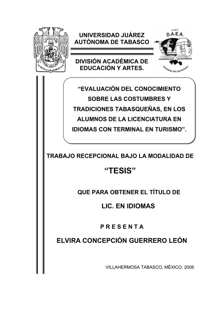 tesis - Acervo Histórico UJAT - Universidad Juárez Autónoma de