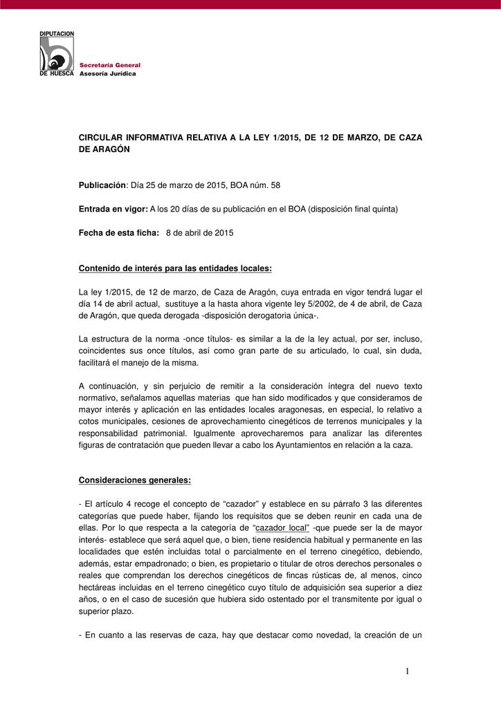 Circular Informativa Relativa A La Ley 1 2015 De 12 De