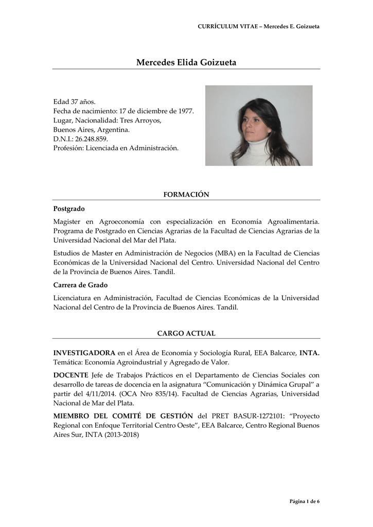 Curriculum Vitae Facultad De Ciencias Agrarias