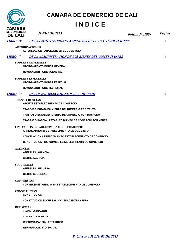 0d96b545a027 CAMARA DE COMERCIO DE CALI INDICE JUNIO DE 2013 LIBRO IV Boletín No.1909 DE  LAS AUTORIZACIONES A MENORES DE EDAD Y REVOCACIONES Pagina 1 AUTORIZACIONES  ...
