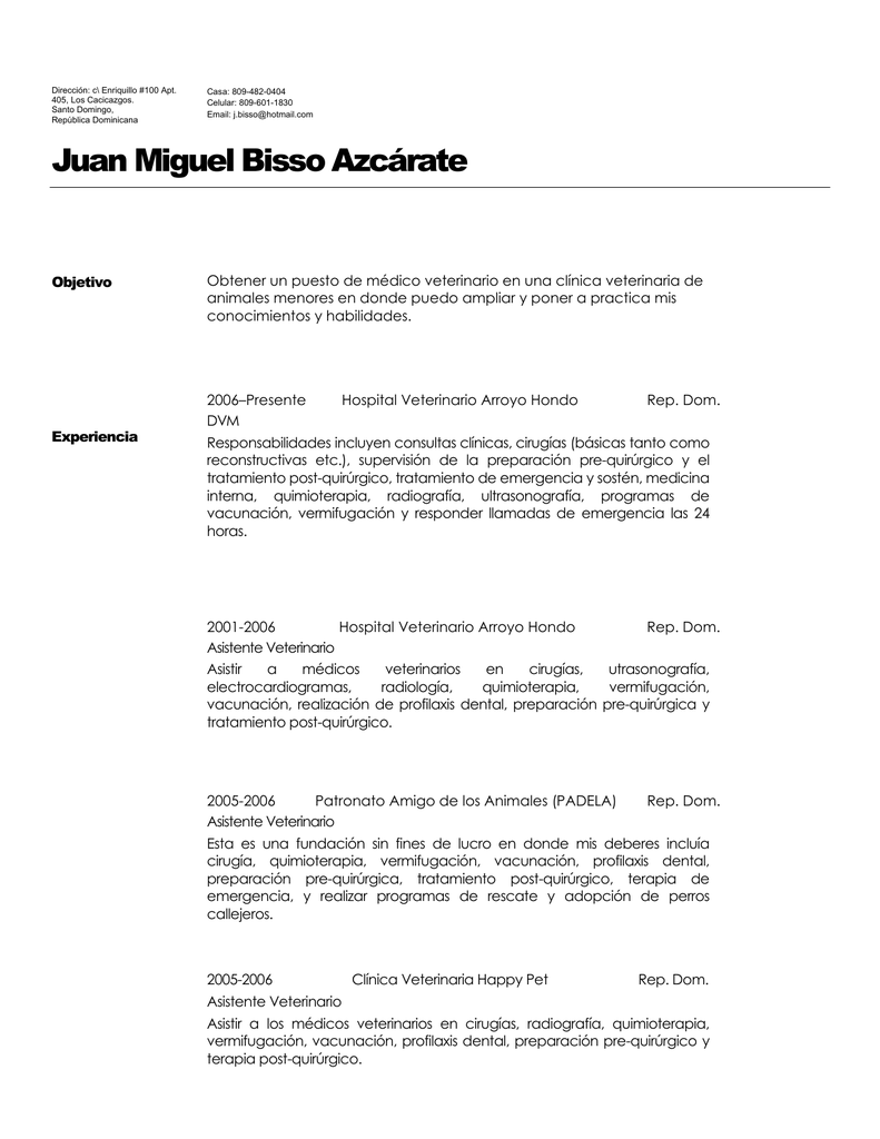 Vistoso Currículum Para Asistente Veterinario Sin Experiencia ...