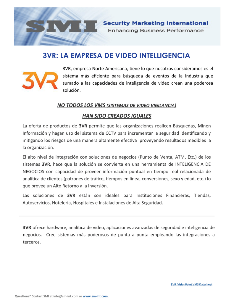 3VR: LA EMPRESA DE VIDEO INTELLIGENCIA