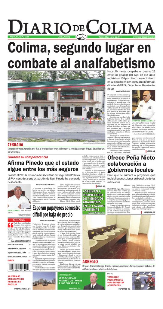 e355aad1f 19,962 $6.00 www.diariodecolima.com Viernes 18 de Enero de 2013 Colima,  segundo lugar en combate al analfabetismo Hace 10 meses ocupaba el puesto 25  entre ...