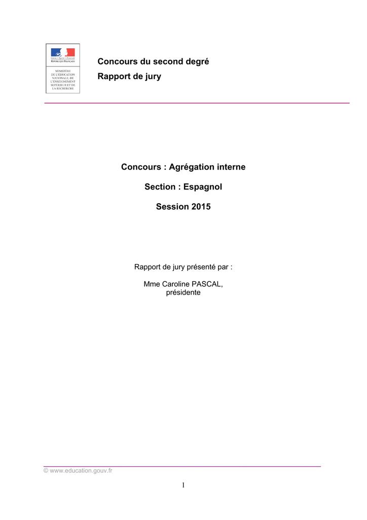 sujet dissertation agregation interne espagnol 2015