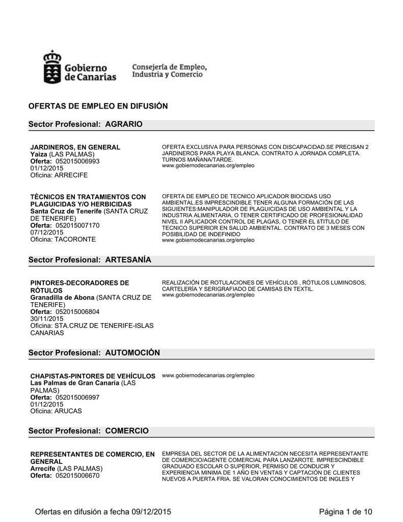 Ofertas Difundidas Por El Servicio Público De Empleo De Canarias