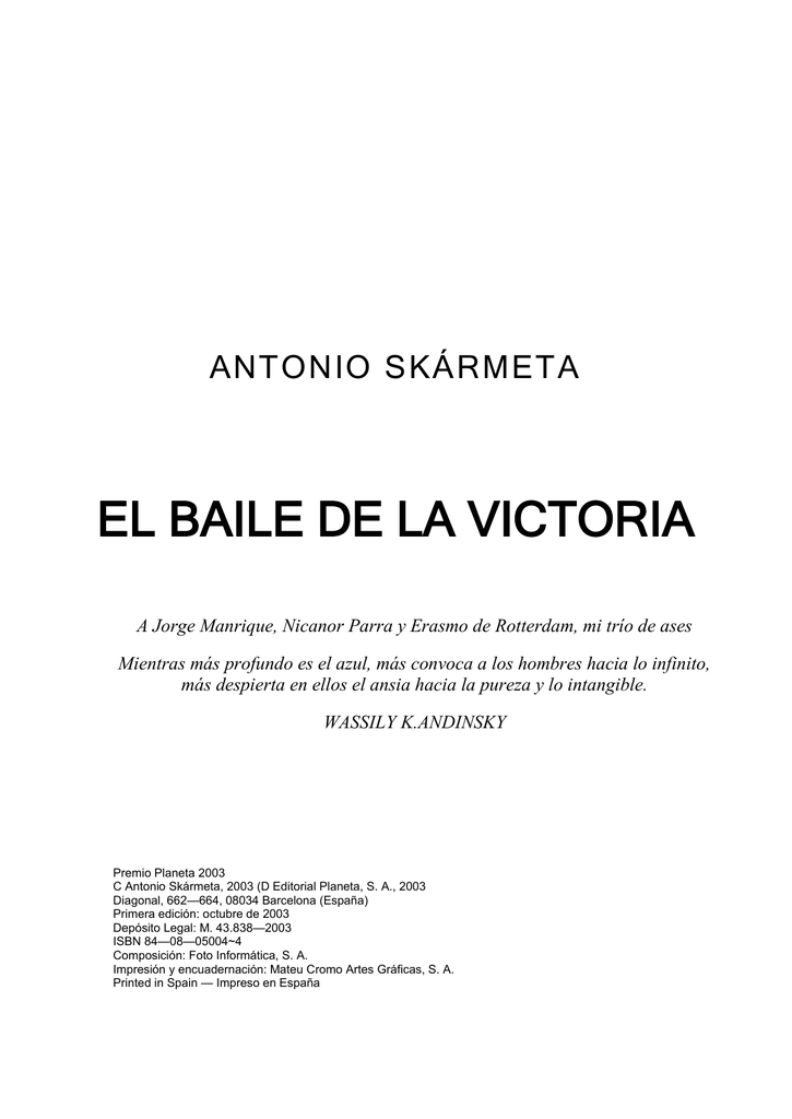 675fb0ef5 El baile de la victoria , de Antonio Skármeta