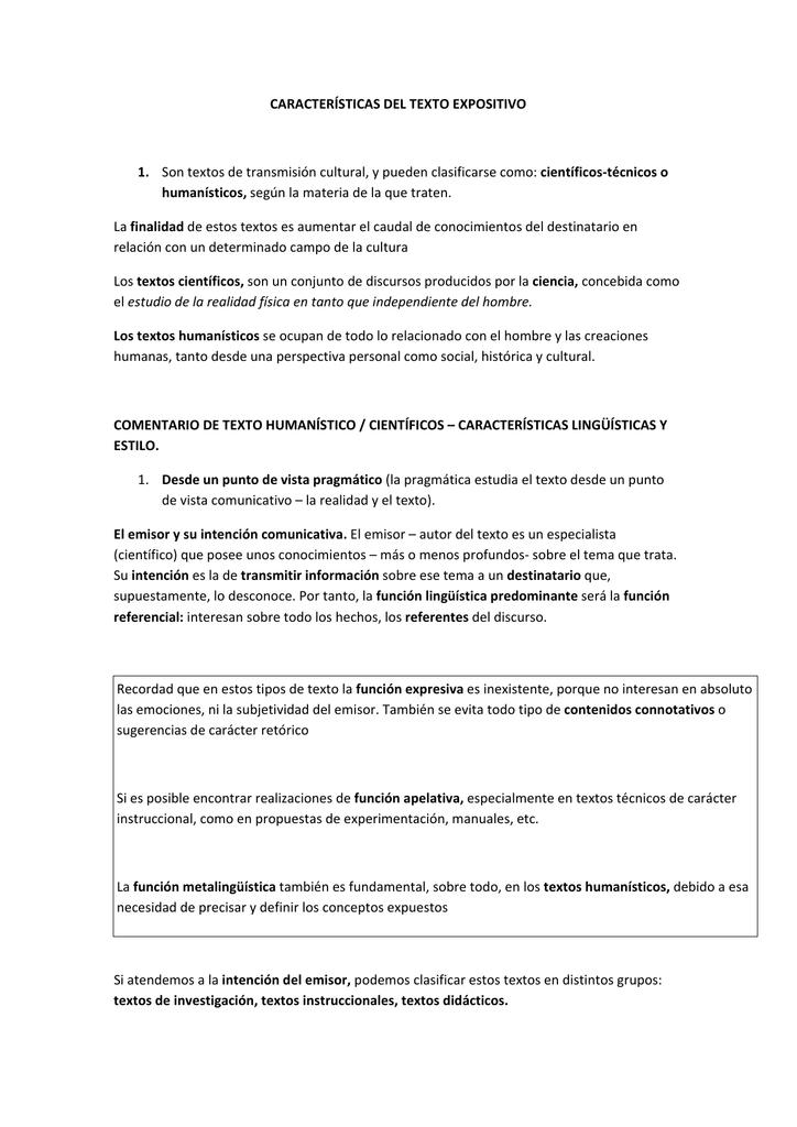 Características Del Texto Expositivo 1 Son Textos De