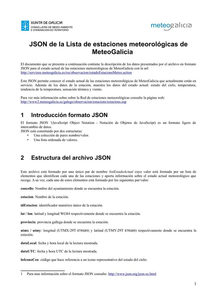 Json De La Lista De Estaciones Meteorológicas De Meteogalicia