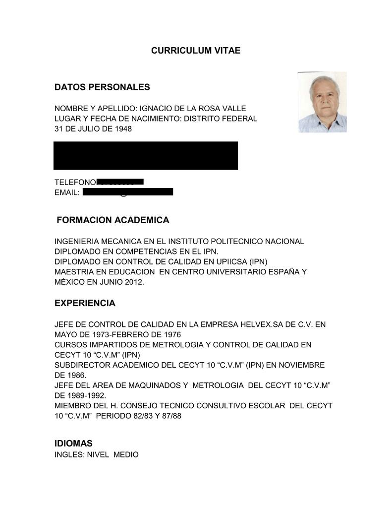 Curriculum Vitae Datos Personales Formacion Academica