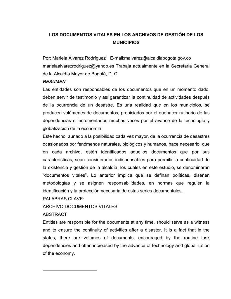 LOS DOCUMENTOS VITALES EN LOS ARCHIVOS DE GESTIÓN