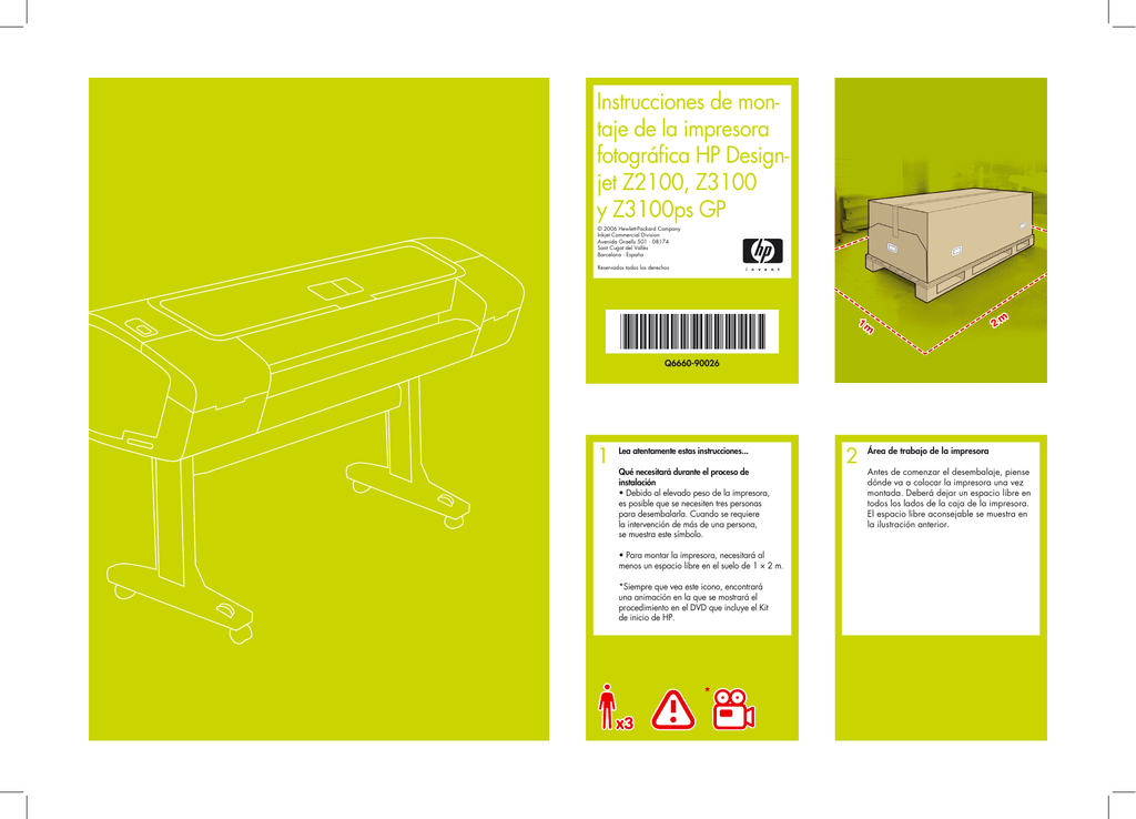 Instrucciones de mon- taje de la impresora fotográfica HP Design