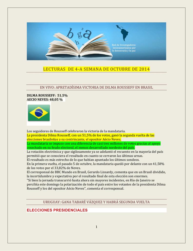 lecturas de 4-a semana de octubre de 2014