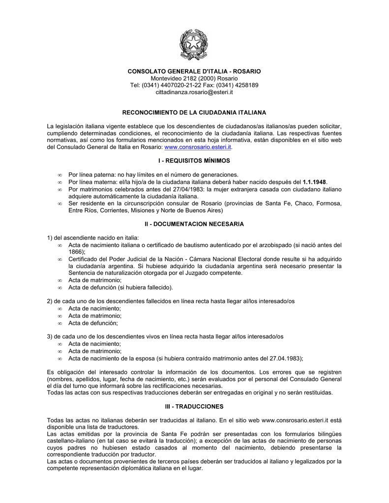 Requisitos y documentación para el reconocimiento de ciudadanía