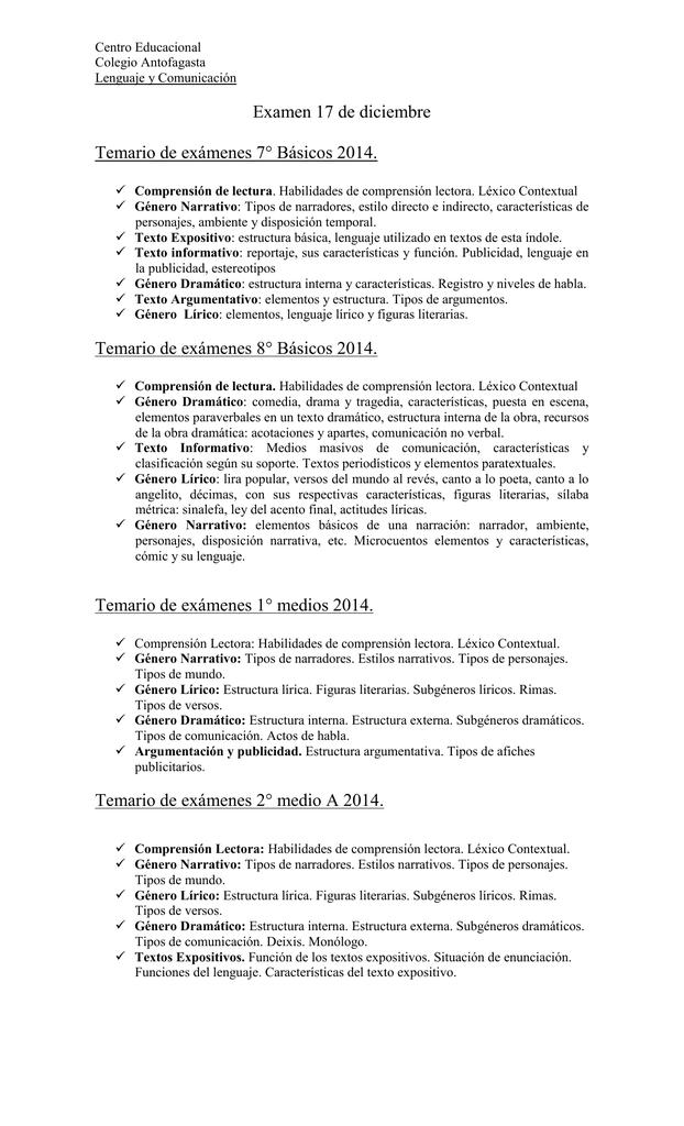 Temario Examen Lenguaje Media Inicial 2014