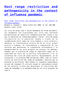 Host range restriction and pathogenicity in the context of influenza